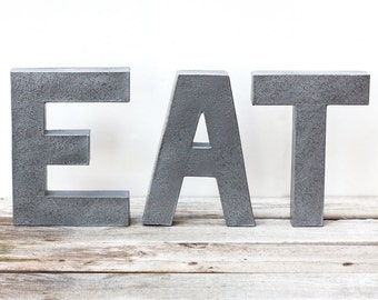 EAT Letters - 8 Inch tall - Hammered Faux Steel
