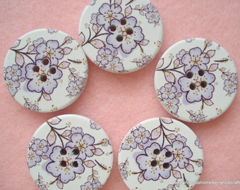 30mm Wood Button with Lilac and Purple Print Pack of 5 Large Floral Buttons