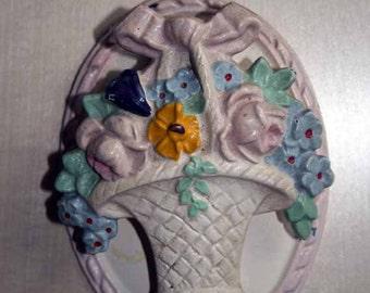 Cast Iron Hubley Floral Basket Door knocker, Handpainted