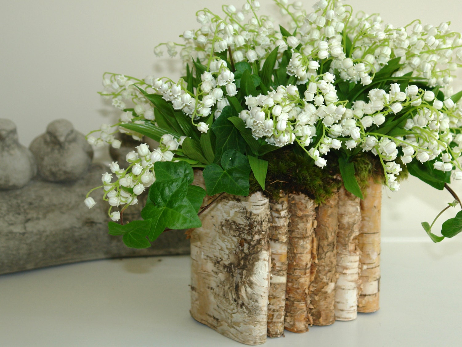 Natural birch bark wood vases wedding flower pot by aniamelisa