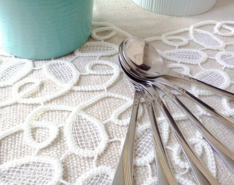 SALE 50 OFF Vintage Spoons with Leaf Pattern Stainless Steel