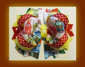 Yo Gabba Gabba Boutique Hair Bow Clip for Girls, Red and Yellow