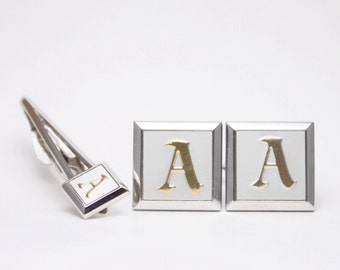 Letter 'A' Vintage Initial Cufflinks and Tie Clip Set by Swank