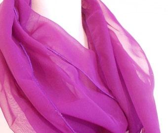 Purple Infinity Scarf, Chiffon Circle Scarf, Purple Silk Scarf, Silk Chiffon Scarf, Silk Sari Scarf, Purple Scarf