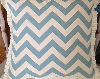 Turquoise and Cream Chevron Pillow