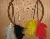 Dream Catcher - Hoop - Red, Yellow, Black and Red feathers