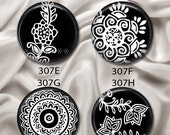 "Black & White Henna 2 - Interchangeable Magnetic Design Inserts - FIT Clique and Magnabilities 1"" Jewelry Bases...307"