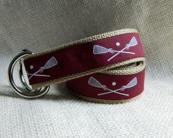 Lacrosse Belt / D-Ring Belt / Canvas Belt / Preppy Webbing Belt for Men, Women and Children/White Lacrosse Sticks on Maroon