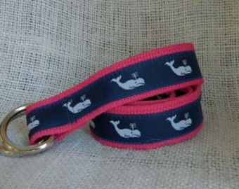 White Whales Ribbon on Dark Pink Webbing D-Ring Belt
