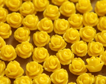 30 pc. Tiny Yellow Glossy Rose Cabochon 7.5mm | RES-237