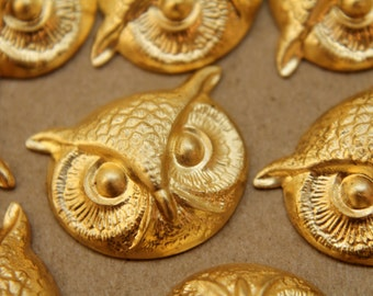 2 pc. Raw Brass Owl Heads : 25mm by 20mm - made in USA | RB-189