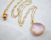 Pink Quartz Pendant Gold Necklace, Pink Gemstone Pendant, Gold Filled Chain Necklace, Wedding Necklace, Bridesmaid Necklace