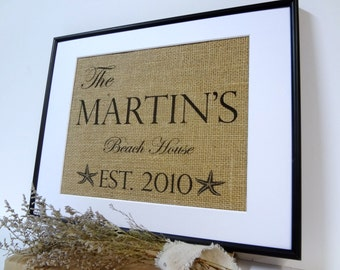 Burlap Personalized beach house sign burlap print