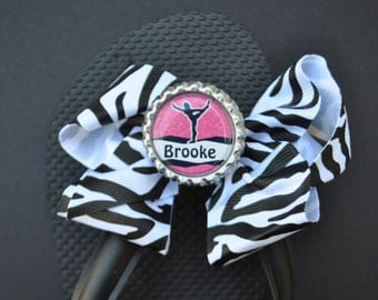 Personalized, custom interchangeable gymnastic flip flop bows You CHOOSE bow color yellow blue green purple pink gymnastics competition