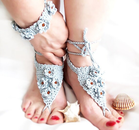 Crochet barefoot sandles- bracelets and anklets. A combination of both- Foot jewelry - Yoga - Stylish Anklet- Gypsy - Beach Sandals- OOAK