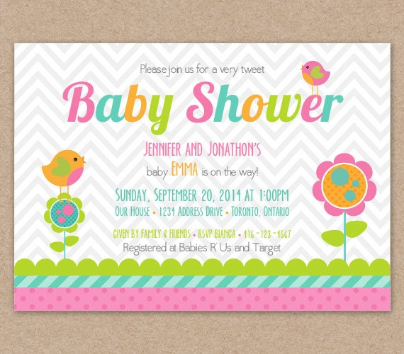 items similar to baby shower invitation, bird baby shower, tweet, Baby shower invitations