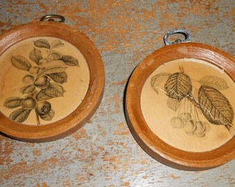Vintage Pictures, Plaques, Woodcroftery, Wood, Round, Wall Decor, Set of Two, Berries, Cherries