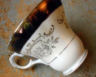 Vintage Tea Cup, Gold, White, Floral, Gorgeous Teacup