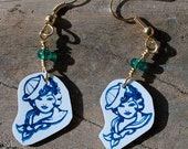 Blue Pin Up Girl Sailor Jerry Tattoo Nautical Earrings Retro Hypoallergenic - StalkingTheWildSnark