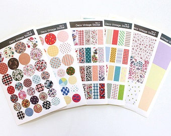 Deco Vintage Sticker Set -  Masking Sticker Set - Diary Stickers - 6 sheets - Ver 2