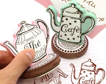 Coffeepot Stamp Set  - Rubber Stamps - Diary Stamps - 2 pcs in