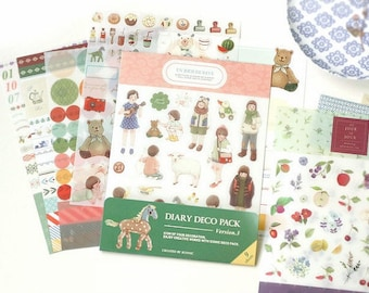 Diary Deco Pack - Deco Stickers - Diary Stickers - Masking Stickers - 9 sheets in