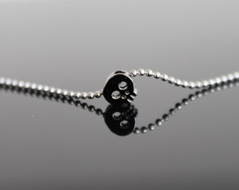 Tiny skull pendant necklace, small silver necklace, simple everyday jewelry