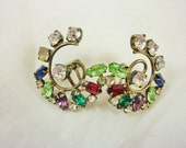 Vintage Rhinestone Multicolored Earrings Clip On - SheLeftUsThis