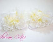 Little Miss Claire Pastel Yellow Organza & White Lace Newborn Infant Toddler and Girls SUPER RUFFLE SOCKS by Bloomin Cuties