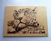 Wooden picture pyrography cheetah woodburning wall art