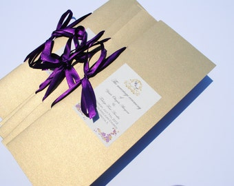 Sample Wedding ceremony programs in orange and gold for Chaniquak
