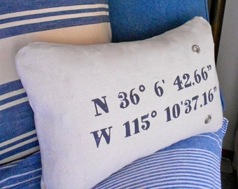 Pillow Cover Decorative Pillow Cover Custom Printed with your GPS for any location Longitude and Latitude