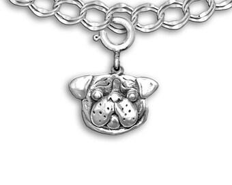 Sterling Silver Pug Head Charm