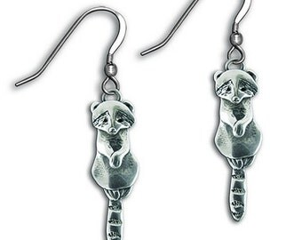 Sterling Silver Raccoon Earrings