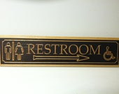 "Large Engraved Wooden ""Restroom"" Sign 5 1/2 x 22"""