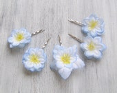 Light- Blue Flowers Bobby Pins, Flowers Bridal Hair Pins, Woodland, Small Hair Flowers, Wedding Hair Accessory, set of 5