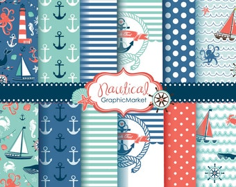 10 Nautical digital papers and 2 cards templates, sea, sailboats, lighthouse, anchor, stripes and polka dot. Personal and Commercial Use