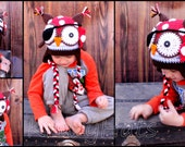 Crochet Pirate Owl hat. Made to order