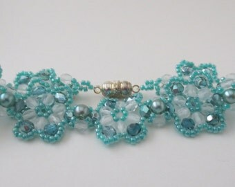 Spring colours -Beautiful and elegant bead and crystal bracelet