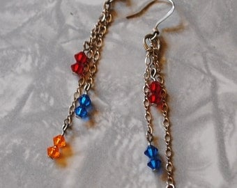 Red, orange and blue chain earrings