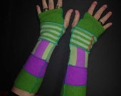 """Lime green & orchid 13"""" arm warmers made from cashmere and wool upcycled sweaters"""