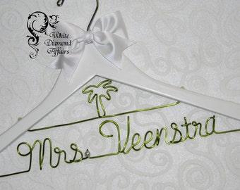 Palm Tree Personalized Beach Themed Wedding Bridal Hanger, Destination Wedding Dress Hanger, Personalized Bridal Gift - Wire Name Hanger