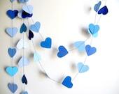 Blue hearts paper garland, blue ombre garland party decoration, kids room decor , blue nursery decoration