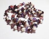 Garnet, Amethyst, Tourmaline and Freshwater Pearl Beadwork Necklace