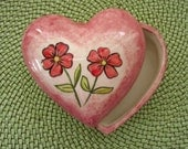 SALE - Ceramic Valentines heart box for jewelry or candy -5.25 inches wide