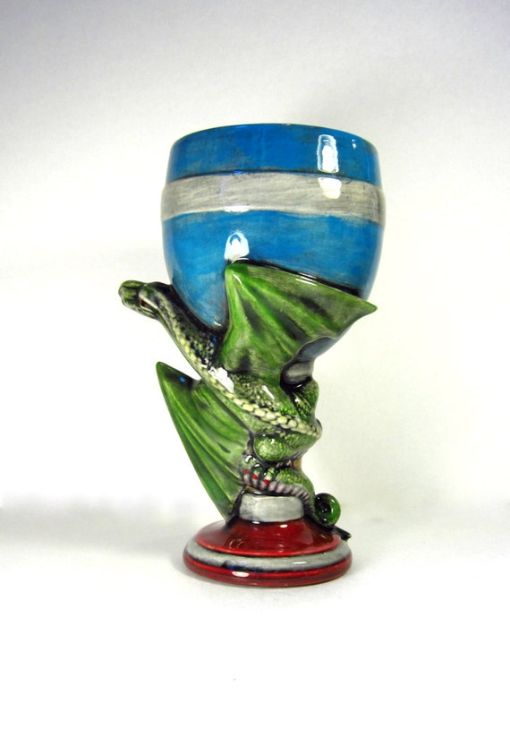 Ready to Ship-Ceramic Dragon Goblet or Glass - 8 inches - hand painted fantasy goblet or wine glass, medieval