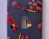 Firetruck/Fireman Themed Boys Light Switch Plate Single Midway Handmade Cover