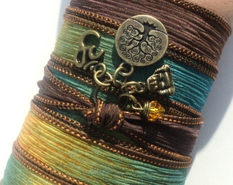 Tree of Life Om Silk Wrap Bracelet Buddha Yoga Jewelry Upper Arm Band Meditation Namaste Earthy Unique Gift For Her Under 50 Item J73