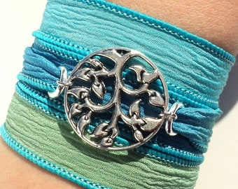 Tree of Life Silk Wrap Bracelet Bohemian Aqua Blue Green Yoga Jewelry Unique Gift For Her Birthday Mothers Day Under 30 Item W27