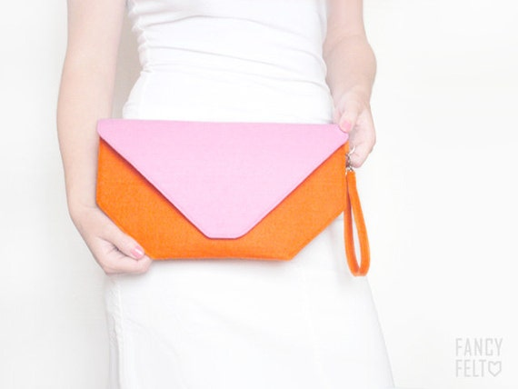 SALE 20%OFF Orange and pink felt clutch bag